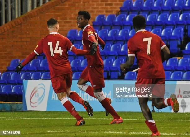 Ovie Ejaria of Liverpool celebrates his goal during the Premier League International Cup match between Liverpool U23 and Newcastle United U23 at...