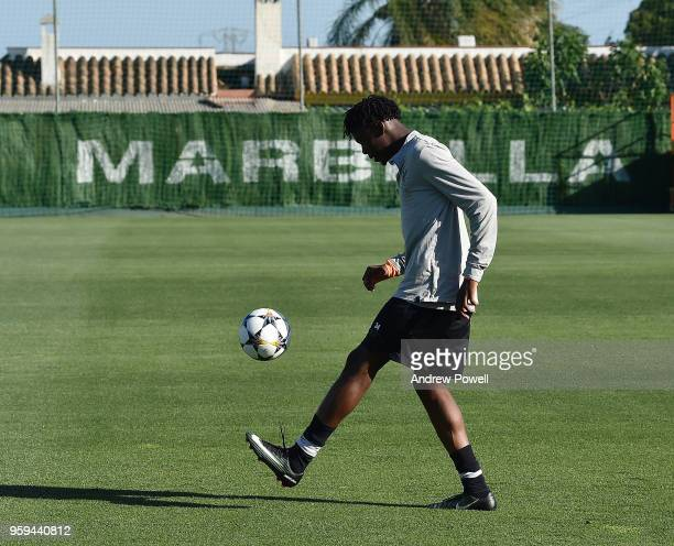 Ovie Ejaria of Liverpool during a training session at Marbella Football Center on May 16 2017 in San Pedro De Alcantara Spain