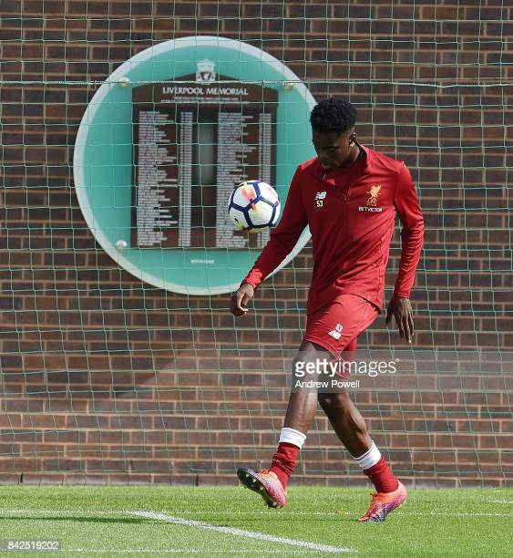 Ovie Ejaria of Liverpool during a training session at Melwood Training Ground on September 4 2017 in Liverpool England