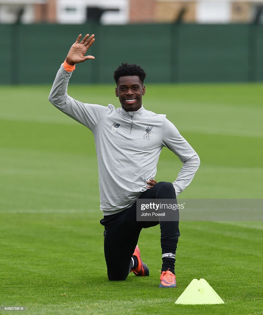 Ovie Ejaria of Liverpool during a training session at Melwood Training Ground on September 12, 2017 in Liverpool, United Kingdom.
