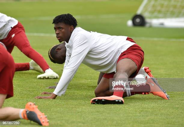Ovie Ejaria of Liverpool during a training session at Melwood Training Ground on May 11 2018 in Liverpool England