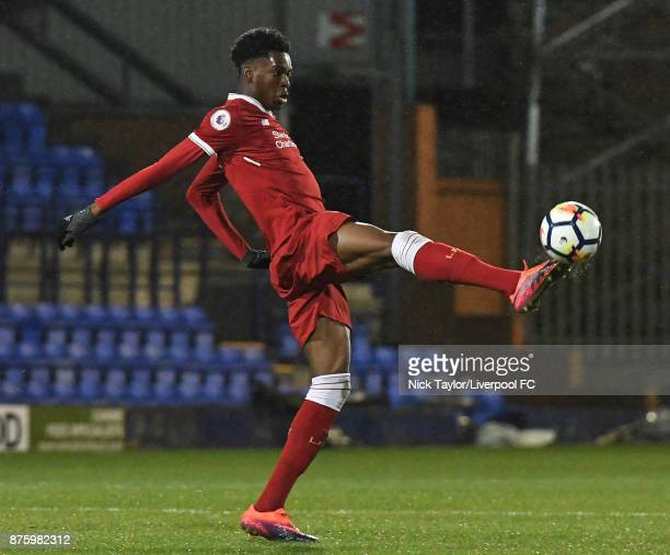 Ovie Ejaria of Liverpool in action during the Liverpool v Everton Premier League 2 game at Prenton Park on November 18 2017 in Birkenhead England