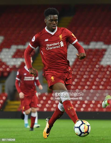 Ovie Ejaria of Liverpool in action during the Liverpool v Tottenham Hotspur Premier League 2 game at Anfield on September 22 2017 in Liverpool England
