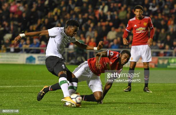 Ovie Ejaria of Liverpool scores during the Manchester United v Liverpool Premier League 2 game at Leigh Sports Village on October 23 2017 in Leigh...
