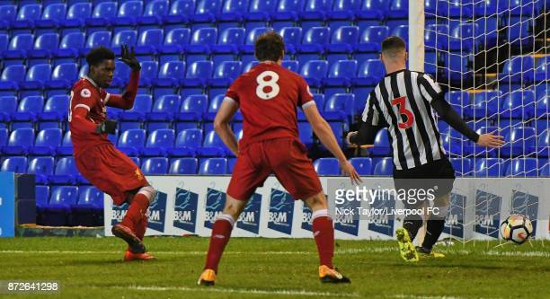 Ovie Ejaria of Liverpool scores during the Premier League International Cup match between Liverpool U23 and Newcastle United U23 at Prenton Park on...