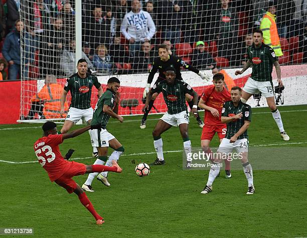 Ovie Ejaria of LiverpoolShoots Wide during the Emirates FA Cup Third Round match between Liverpool and Plymouth Argyle at Anfield on January 8 2017...