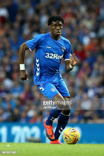 Ovie Ejaria of Rangers in action during the UEFA Europa League Qualifying Round match between Rangers and Shkupi at Ibrox Stadium on July 12 2018 in...