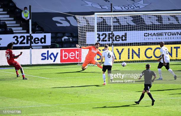 Ovie Ejaria of Reading FC scores his team's second goal during the Sky Bet Championship match between Derby County and Reading at Pride Park Stadium...