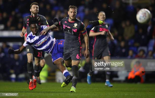 Ovie Ejaria of Reading FC strikes unsuccessfully at goal during the Sky Bet Championship match between Reading and Leeds United at Madejski Stadium...