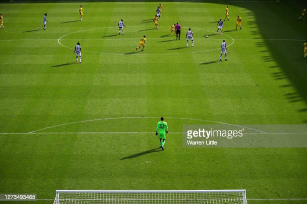Ovie Ejaria of Reading passes the ball during the Sky Bet Championship match between Reading and Barnsley at Madejski Stadium on September 19 2020 in...