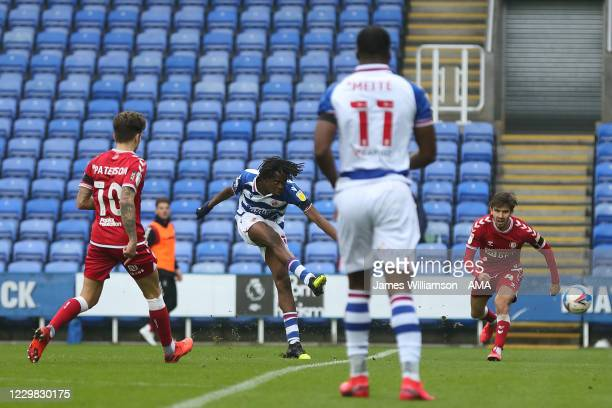 Ovie Ejaria of Reading scores a goal to make it 1-0 during the Sky Bet Championship match between Reading and Bristol City at Madejski Stadium on...