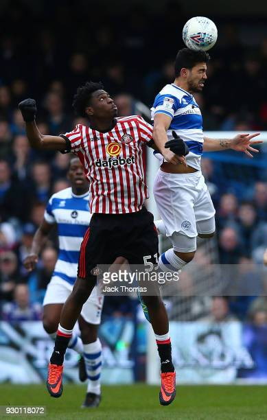 Ovie Ejaria of Sunderland and Massimo Luongo of QPR compete for the ball during the Sky Bet Championship match between Queens Park Rangers and...