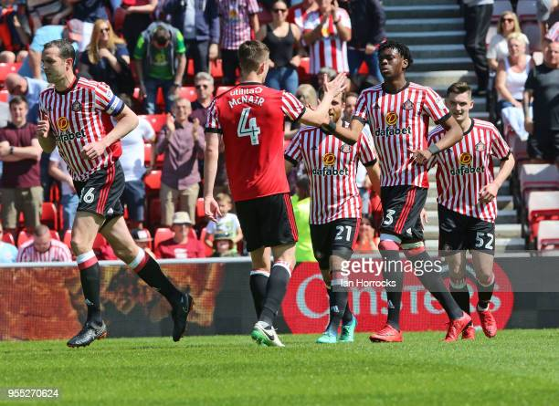 Ovie Ejaria of Sunderland celebrates scoring the opening goal with teammates during he Sky Bet Championship match between Sunderland and...