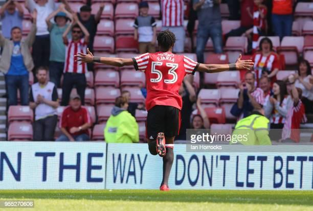 Ovie Ejaria of Sunderland celebrates the scoring opening goal during he Sky Bet Championship match between Sunderland and Wolverhampton Wonderers at...