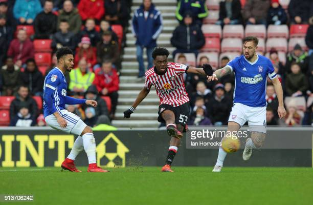 Ovie Ejaria of Sunderland has a shot during the Sky Bet Championship match between Sunderland and Ipswich Town at Stadium of Light on February 3 2018...