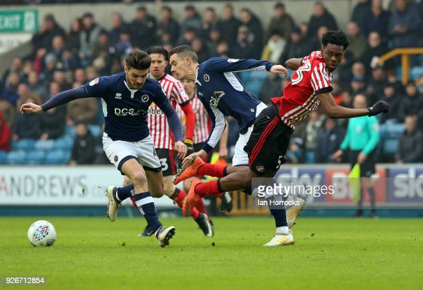 Ovie Ejaria of Sunderland is robbed of the ball during the Sky Bet Championship match between Millwall and Sunderland at The Den on March 3 2018 in...