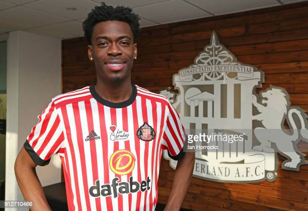 Ovie Ejaria pictured after being unveiled as a Sunderland player at The Academy of Light on January 31 2018 in Sunderland England