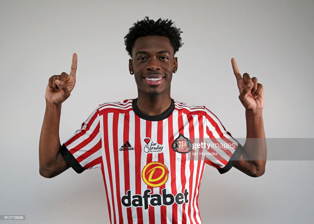 Ovie Ejaria, pictured after being unveiled as a Sunderland player at The Academy of Light on January 31, 2018 in Sunderland, England.