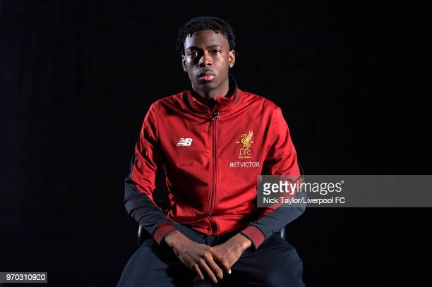 Ovie Ejaria signs a contract extension with Liverpool Football Club on June 4 2018 in Liverpool England