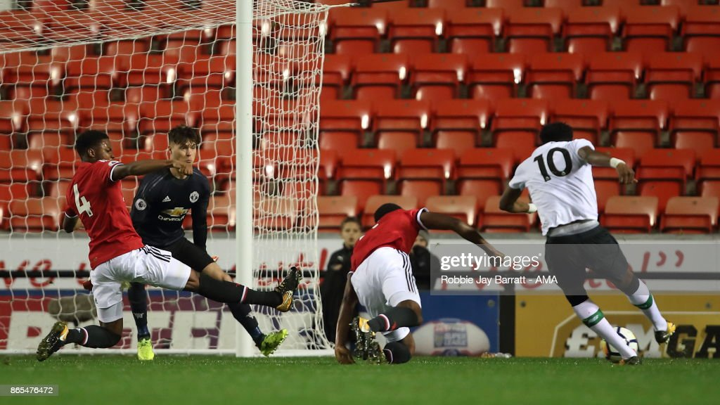 Ovie Ejazia of Liverpool scores a goal to make it 0-1 during the Premier League 2 fixture between Manchester United and Liverpool at Leigh Sports Village on October 23, 2017 in Leigh, Greater Manchester.