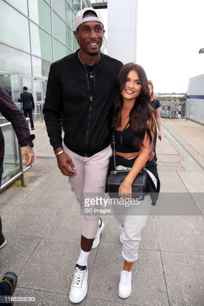 Ovie Soko and India Reynolds seen arriving at London Stansted airport on Wednesday after jetting back from Mallorca on July 31 2019 in London England