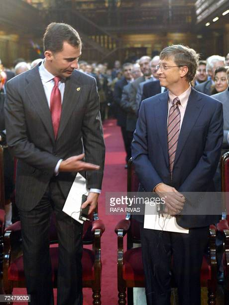 Bill Gates , president of the Bill and Melinda Gates Foundation and Microsoft computers company, is invited to sit down by Spain's Prince Felipe de...