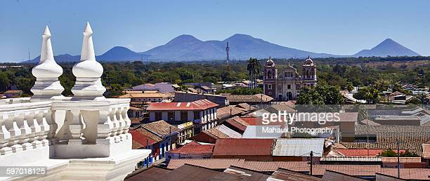 oview from the white roof of the cathedral, leon - leon boden stock-fotos und bilder