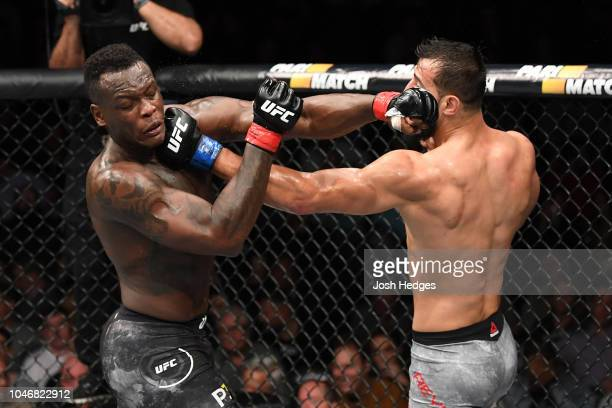 Ovince Saint Preux and Dominick Reyes trade punches in their light heavyweight bout during the UFC 229 event inside TMobile Arena on October 6 2018...