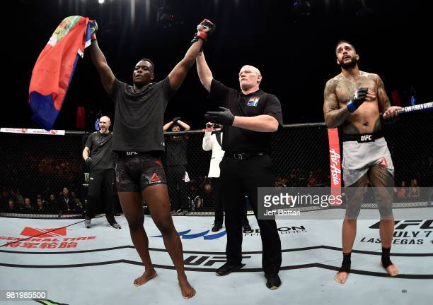 Ovince Saint Preux celebrates after his submission victory over Tyson Pedro of Australia in their light heavyweight bout during the UFC Fight Night...