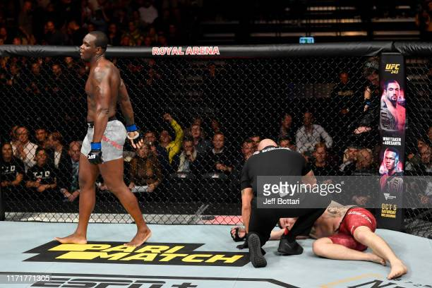 Ovince Saint Preux celebrates his submission victory over Michal Oleksiejczuk of Poland in their light heavyweight bout during the UFC Fight Night...