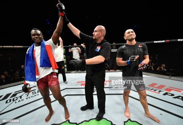 Ovince Saint Preux celebrates his submission victory over Yushin Okami of Japan in their light heavyweight bout during the UFC Fight Night event...