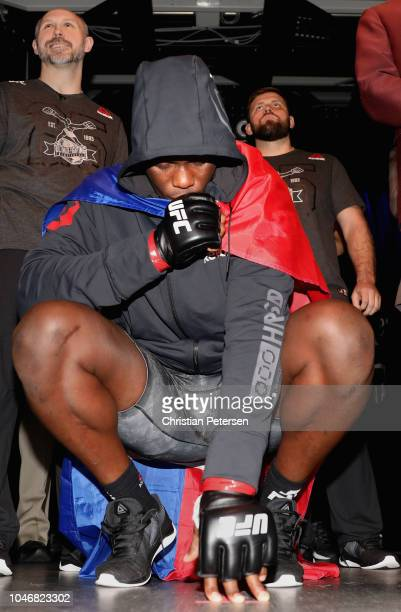 Ovince Saint Preux enters the arena to take on Dominick Reyes in their light heavyweight bout during the UFC 229 event inside TMobile Arena on...