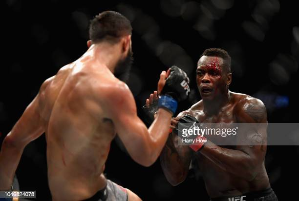 Ovince Saint Preux faces Dominick Reyes in their light heavyweight bout during the UFC 229 event inside TMobile Arena on October 6 2018 in Las Vegas...