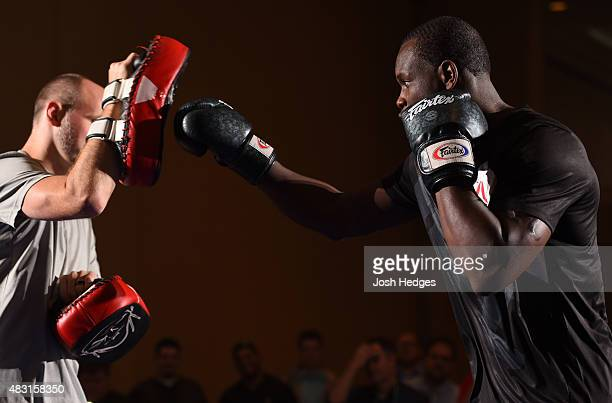 Ovince Saint Preux holds an open training session for fans and media at the Sheraton Nashville Downtown hotel on August 6 2015 in Nashville Tennessee