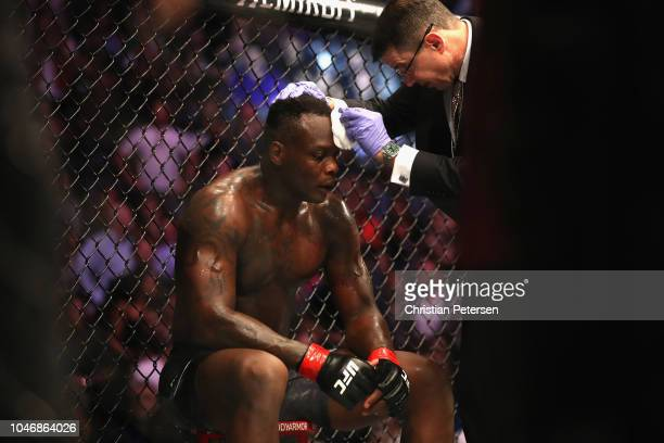 Ovince Saint Preux is checked out after fighting Dominick Reyes in their light heavyweight bout during the UFC 229 event inside TMobile Arena on...