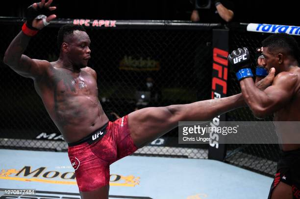 Ovince Saint Preux kicks Alonzo Menifield in a light heavyweight fight during the UFC Fight Night event at UFC APEX on September 05, 2020 in Las...