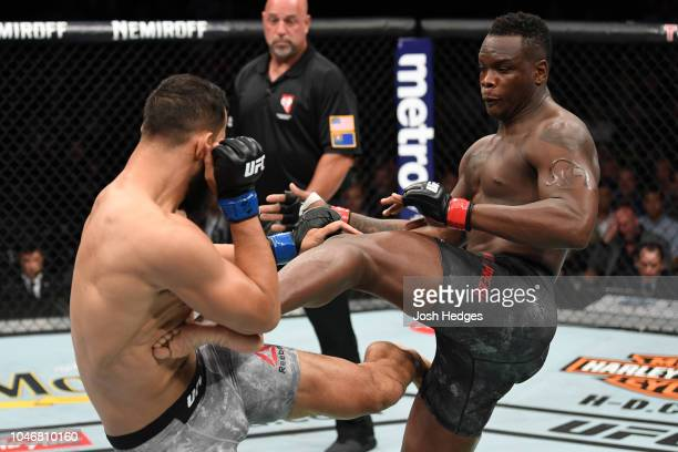 Ovince Saint Preux kicks Dominick Reyes in their light heavyweight bout during the UFC 229 event inside TMobile Arena on October 6 2018 in Las Vegas...