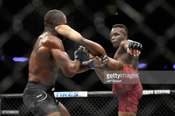 Ovince Saint Preux knocks out Corey Anderson with a kick to the head in their light heavyweight bout during the UFC 217 event at Madison Square...