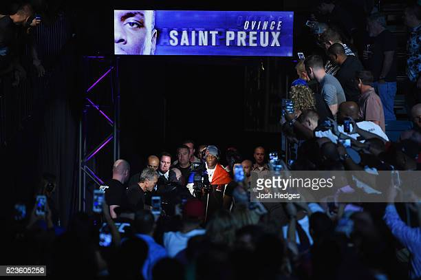 Ovince Saint Preux prepares to enter the Octagon before facing Jon Jones in their interim UFC light heavyweight championship bout during the UFC 197...
