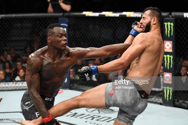 Ovince Saint Preux punches Dominick Reyes in their light heavyweight bout during the UFC 229 event inside TMobile Arena on October 6 2018 in Las...