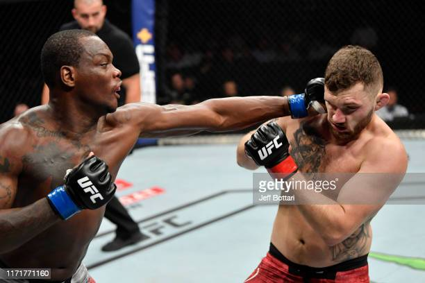 Ovince Saint Preux punches Michal Oleksiejczuk of Poland in their light heavyweight bout during the UFC Fight Night event at Royal Arena on September...