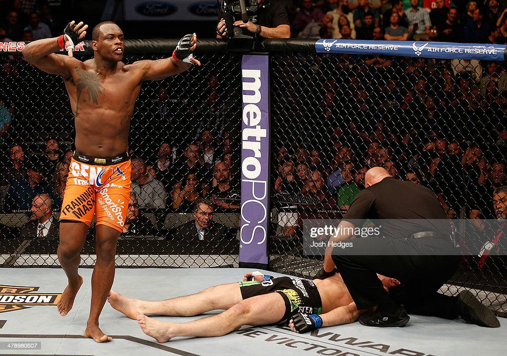 Ovince Saint Preux reacts after his submission victory over Nikita Krylov in their light heavyweight bout at UFC 171 inside American Airlines Center on March 15, 2014 in Dallas, Texas.