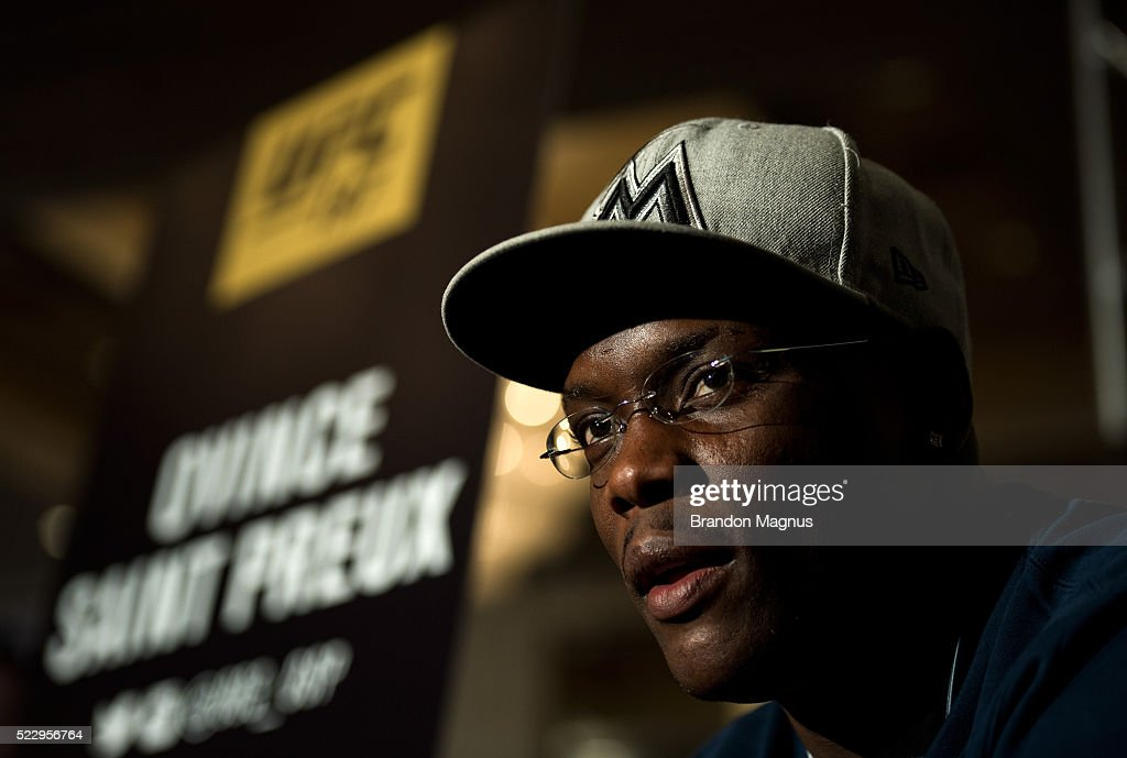 Ovince Saint Preux speaks to the media during the UFC 197: Ultimate Media Day at MGM Grand Hotel & Casino on April 21, 2016 in Las Vegas Nevada.
