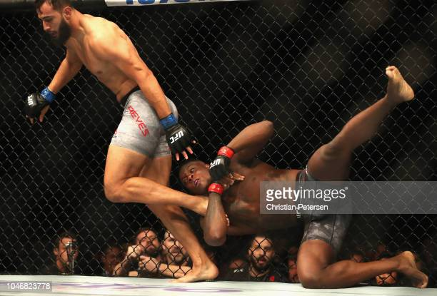 Ovince Saint Preux tries to take down Dominick Reyes in their light heavyweight bout during the UFC 229 event inside TMobile Arena on October 6 2018...