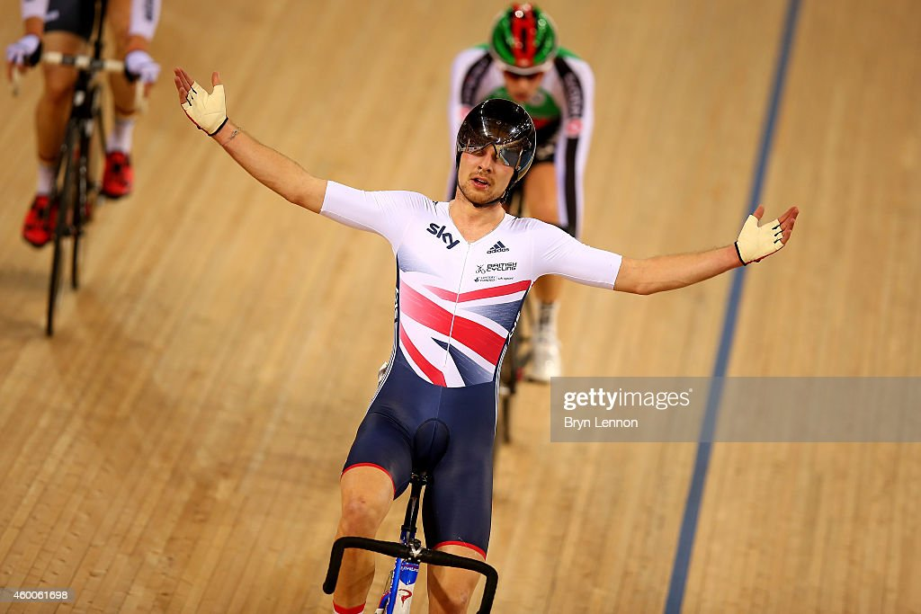 Owain Doull of Great Britain celebrates after he won the Men's Madison Final with teammate Mark Christian on day two of the UCI Track Cycling World Cup at the Lee Valley Velopark Velodrome on December 6, 2014 in London, England.