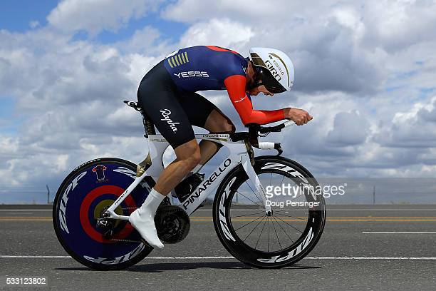 Owain Doull of Great Britain riding for Team Wiggins races to 14th place in the individual time trial during stage six of the 2016 Amgen Tour of...