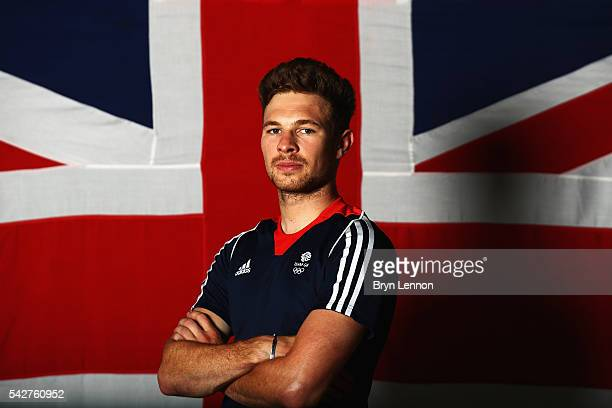 Owain Doull of Team GB poses for a photo at a press conference announcing the Team GB track cyclists selected to ride in the Rio 2016 Olympic Games...