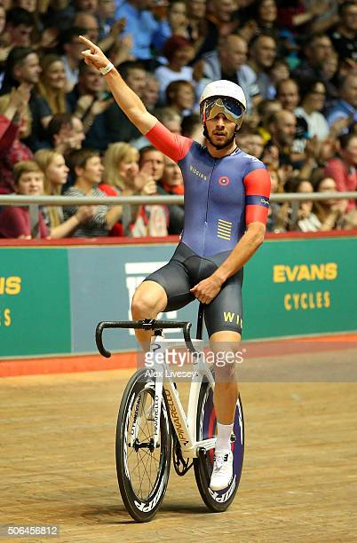 Owain Doull of Team Wiggins and Great Britain celebrates after winning the Elite Championship Team Elimination with Jon Dibben during Round 6 of the...