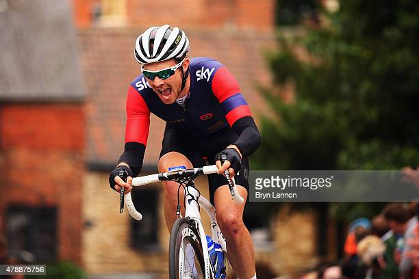 Owain Doull of Team Wiggins in action on his way to winning the U23 Men's race during the 2015 British National Championship road race on June 28...