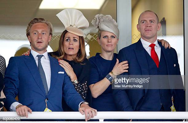Owain Walbyoff Natalie Pinkham Zara Phillips and Mike Tindall watch the Grand National as they attend day 3 'Grand National Day' of the Crabbie's...